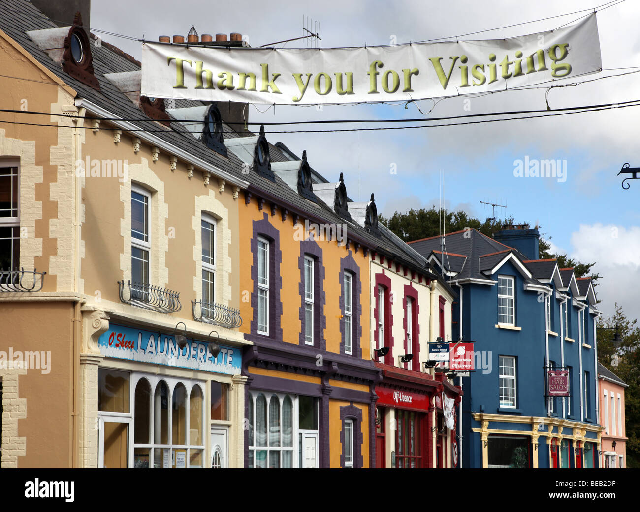 Castletownbere coloured shopfronts - Stock Image
