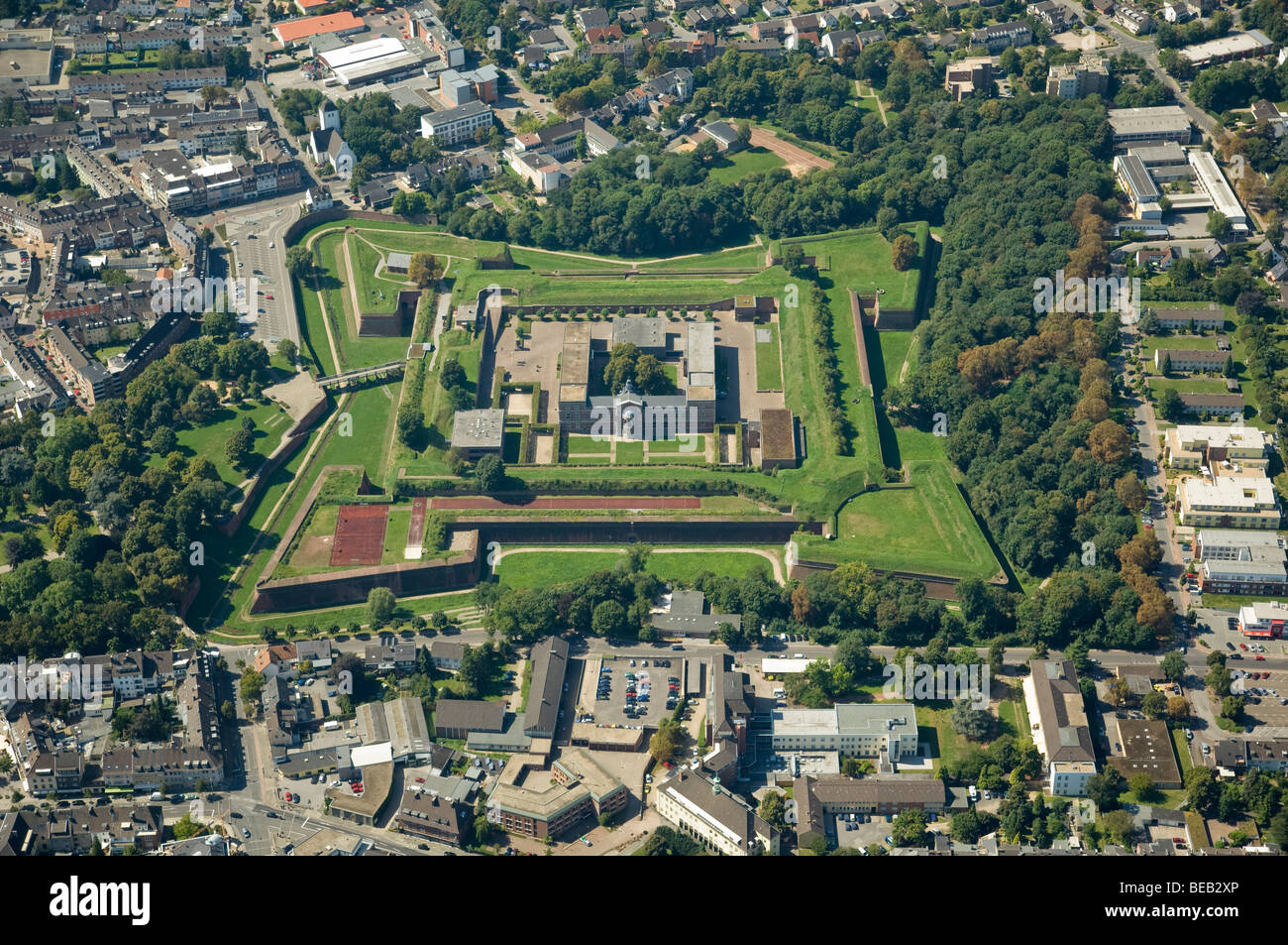 aerial photo of citadel Juelich, Germany - Stock Image