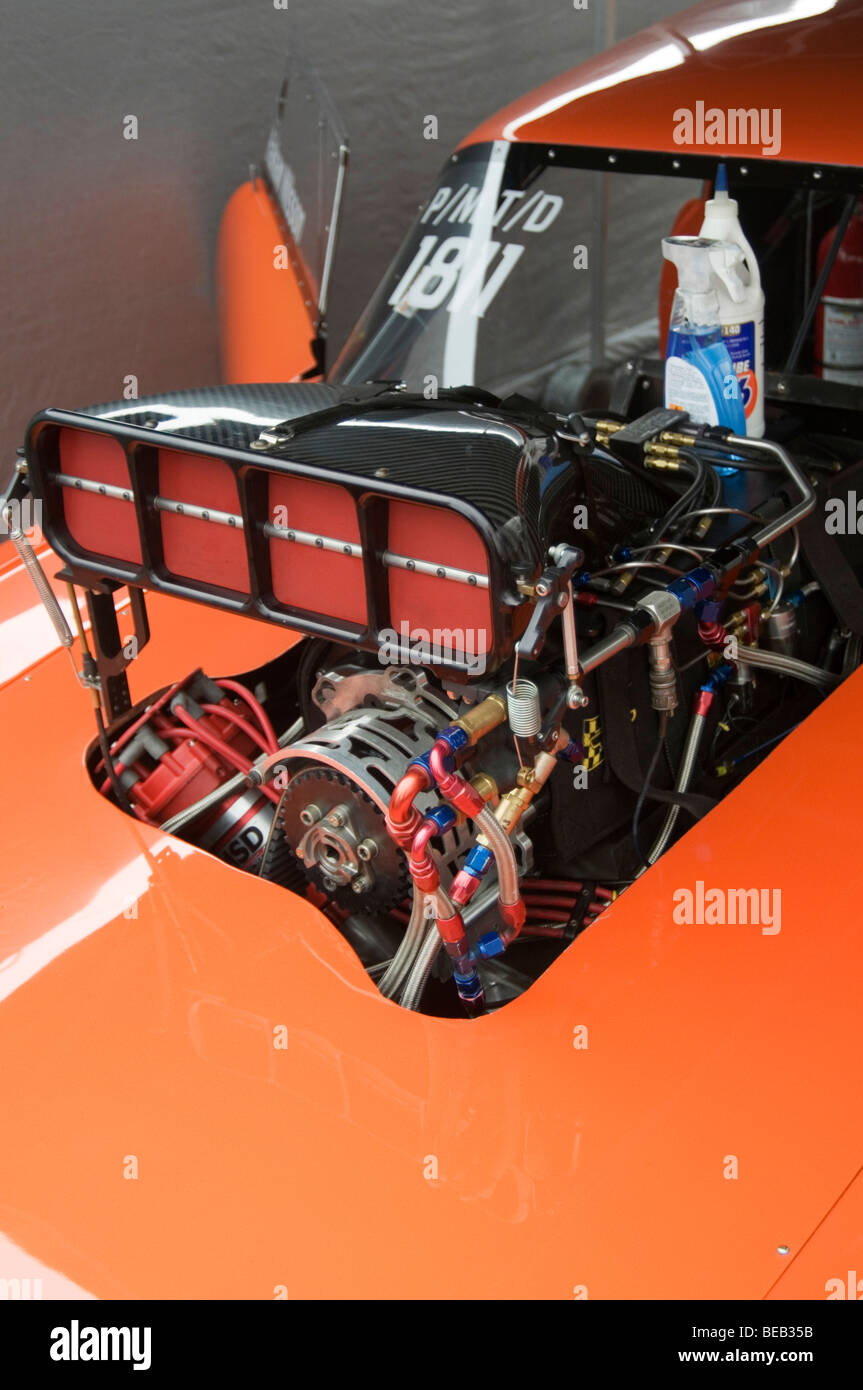 supercharger super charger charged supercharged blower engine drag car dragster dragsters cars engines racing race - Stock Image