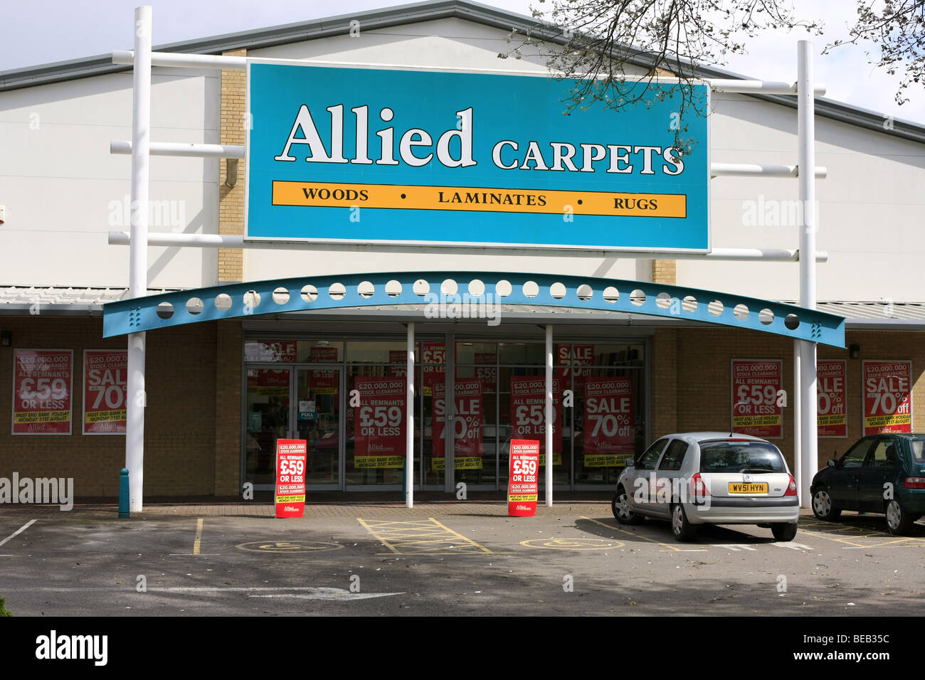 Allied Carpets Flooring Store and sign - Stock Image