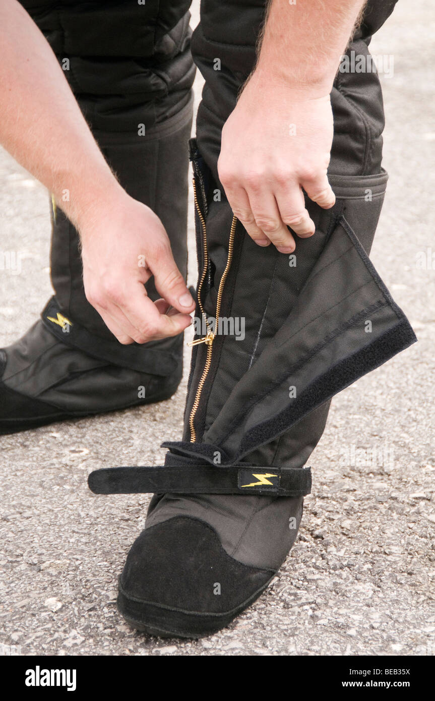fireproof boots as worn by a drag racer - Stock Image