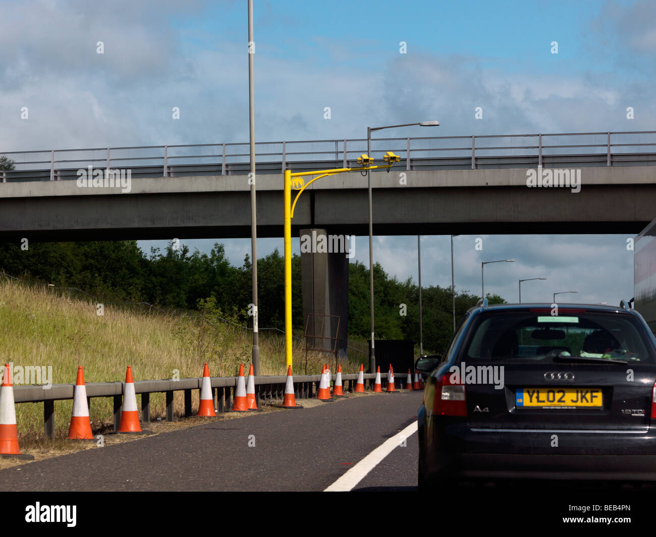 Average Speed Check Camera on a Motorway - Stock Image