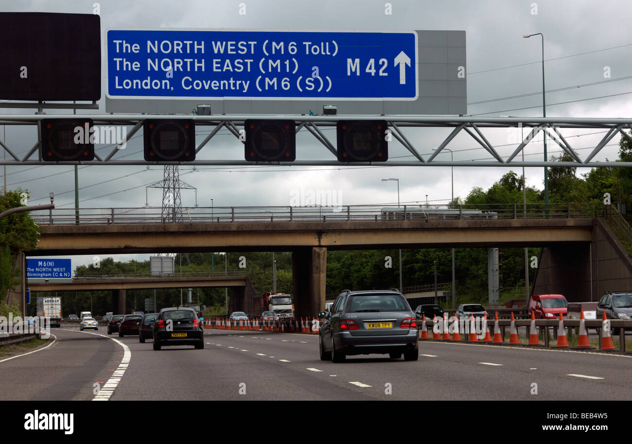 Motorways M42 and M6 Merge - Stock Image