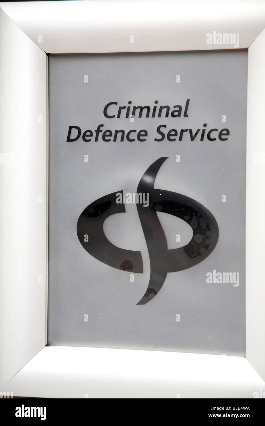 Criminal Defence Service sign - Stock Image