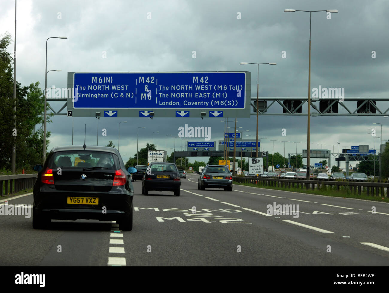 M 42 and M6 Motorways Merging and Average Speed Check - Stock Image