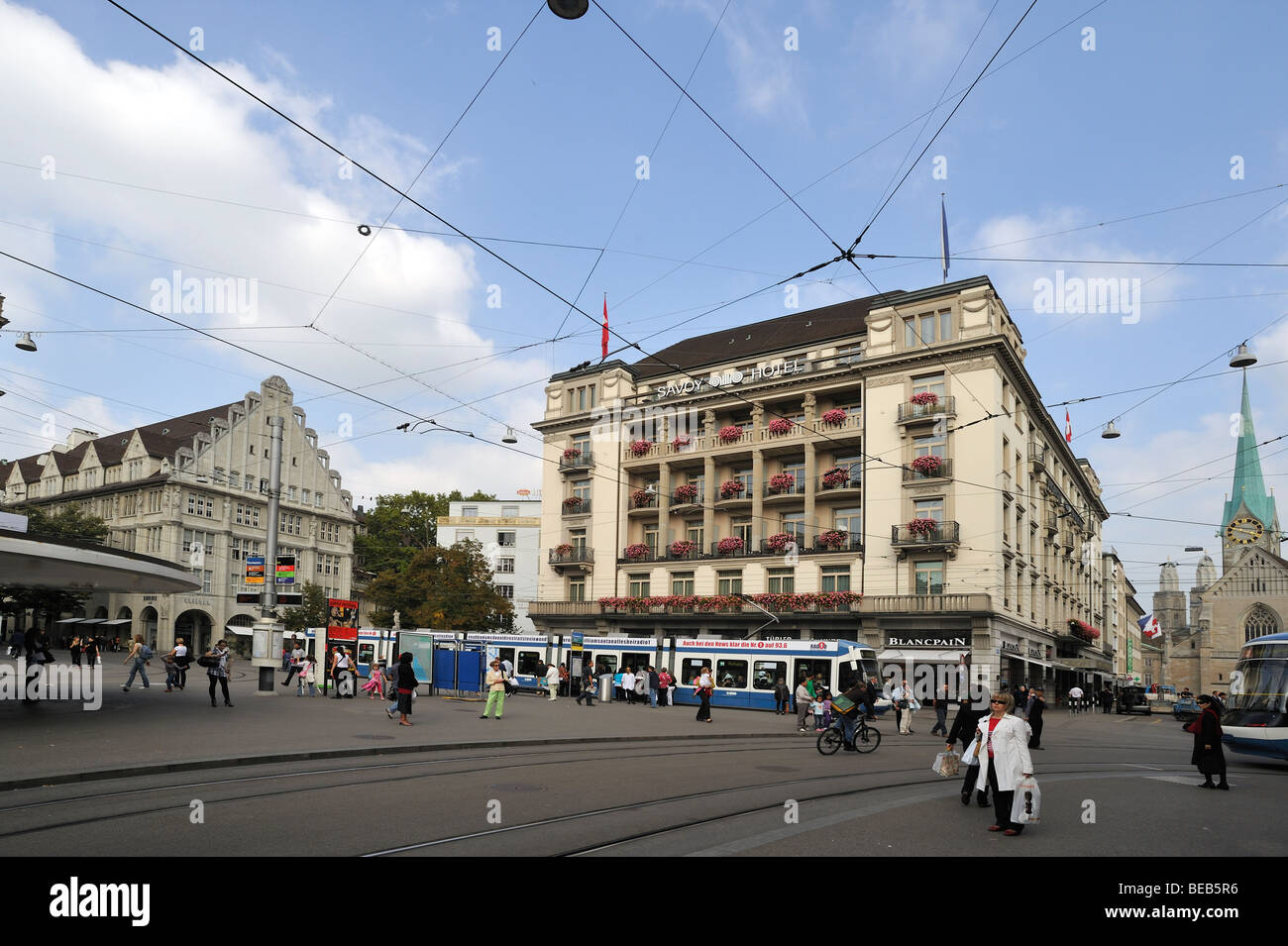 The Savoy hotel on Bahnhofstraße in Zurich, view from Parade Platz. - Stock Image