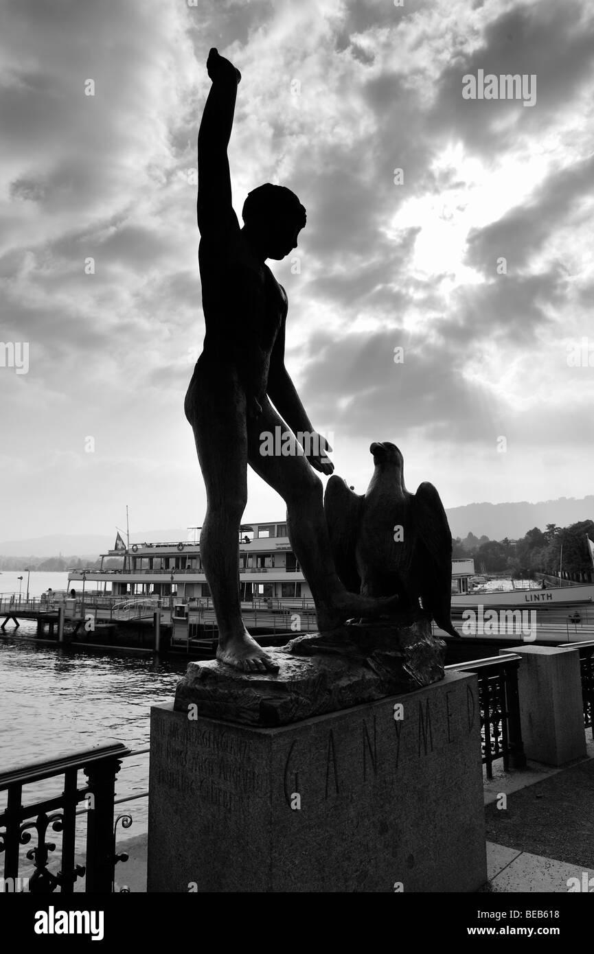 Statue of Ganymede by Hermann Hubacher  by Lake Zurich, Switzerland - Stock Image