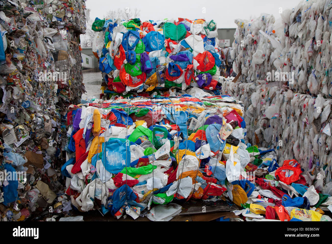 Roseville, Michigan - Plastic bottles baled for recycling at Great Lakes Recycling. - Stock Image