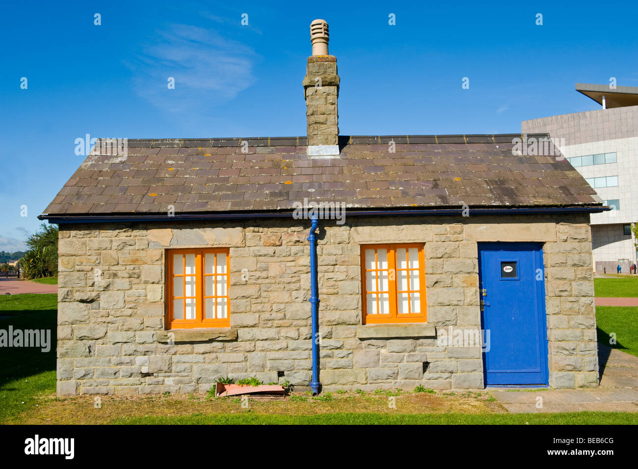 Former lock operators cottage at Cardiff Bay South Wales UK - Stock Image