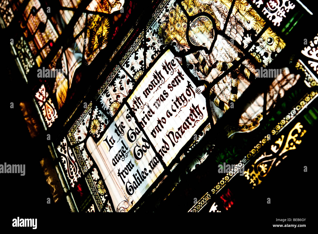 Stain Glass windows in a medival church - Stock Image