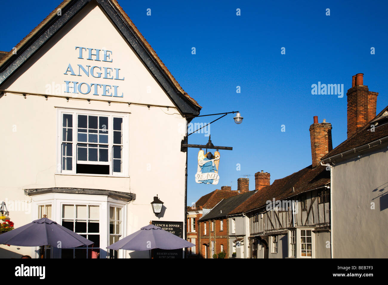 The Angel Hotel in the Market Place Lavenham Suffolk England Stock Photo