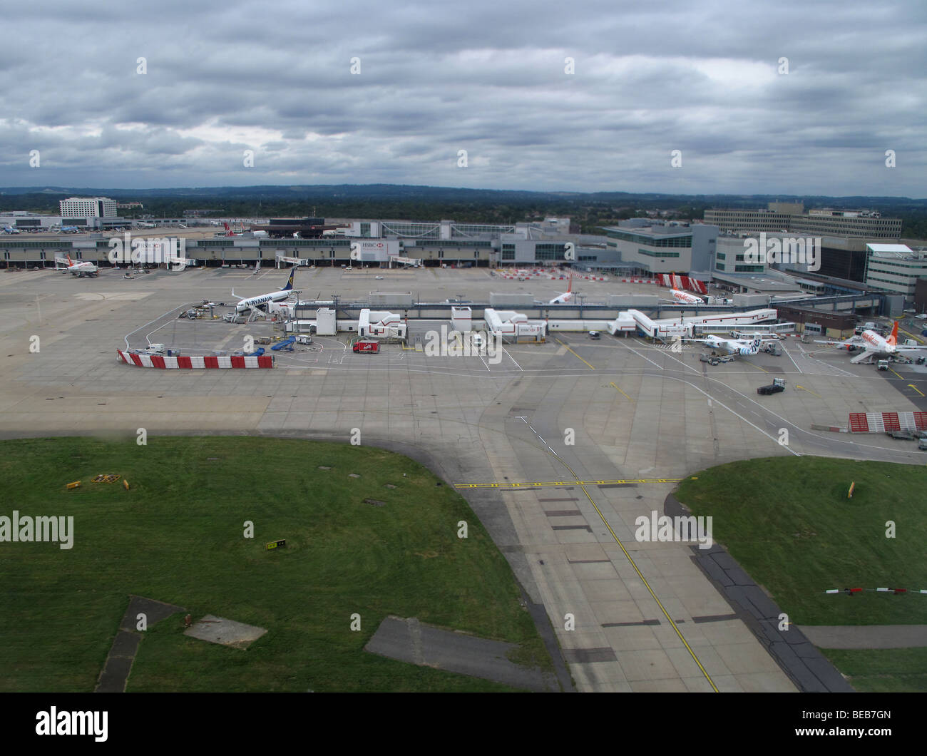 An aerial view of Gatwick airport is seen from the window of a Flybe flight from Guernsey to London GatwickStock Photo