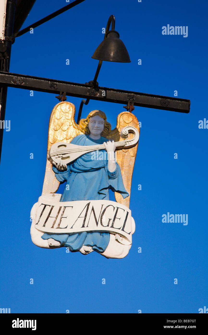 The Angel Hotel Sign Lavenham Suffolk England - Stock Image