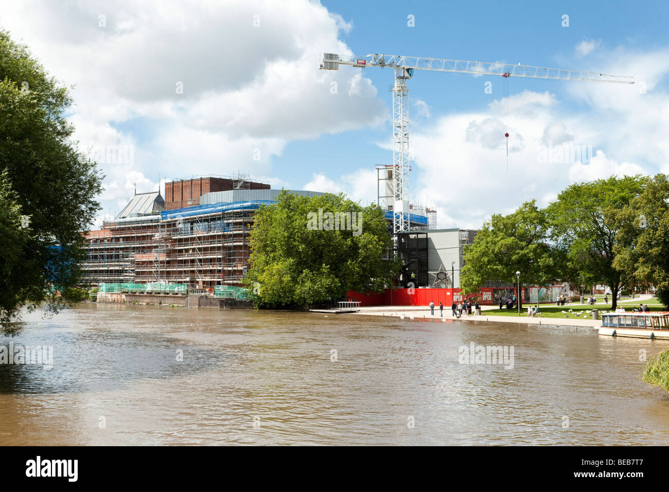 Construction work in progress on the Royal Shakespeare Theatre site beside the River Avon at Stratford upon Avon, - Stock Image
