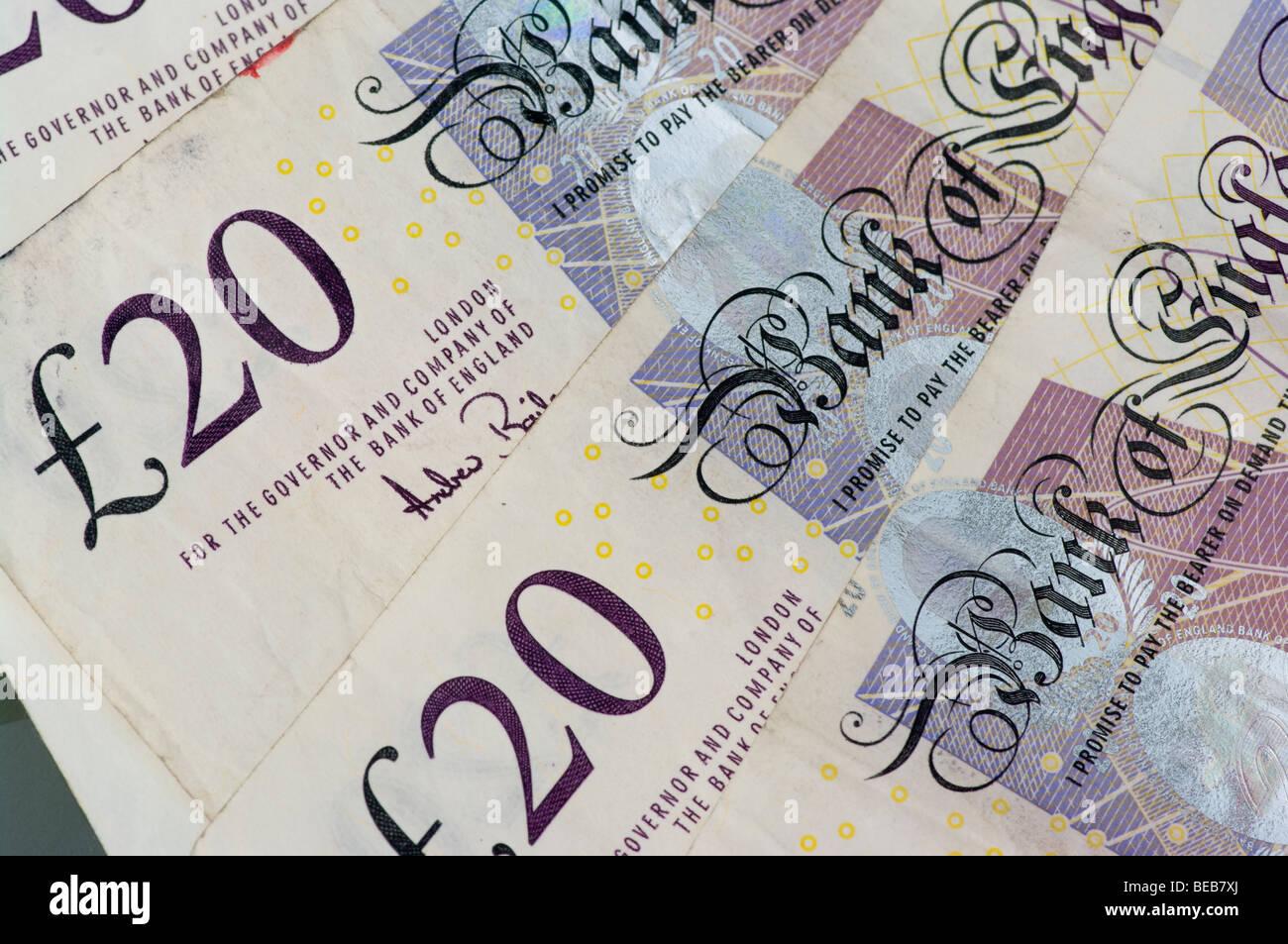 Used Twenty English Pound Sterling Notes - Stock Image