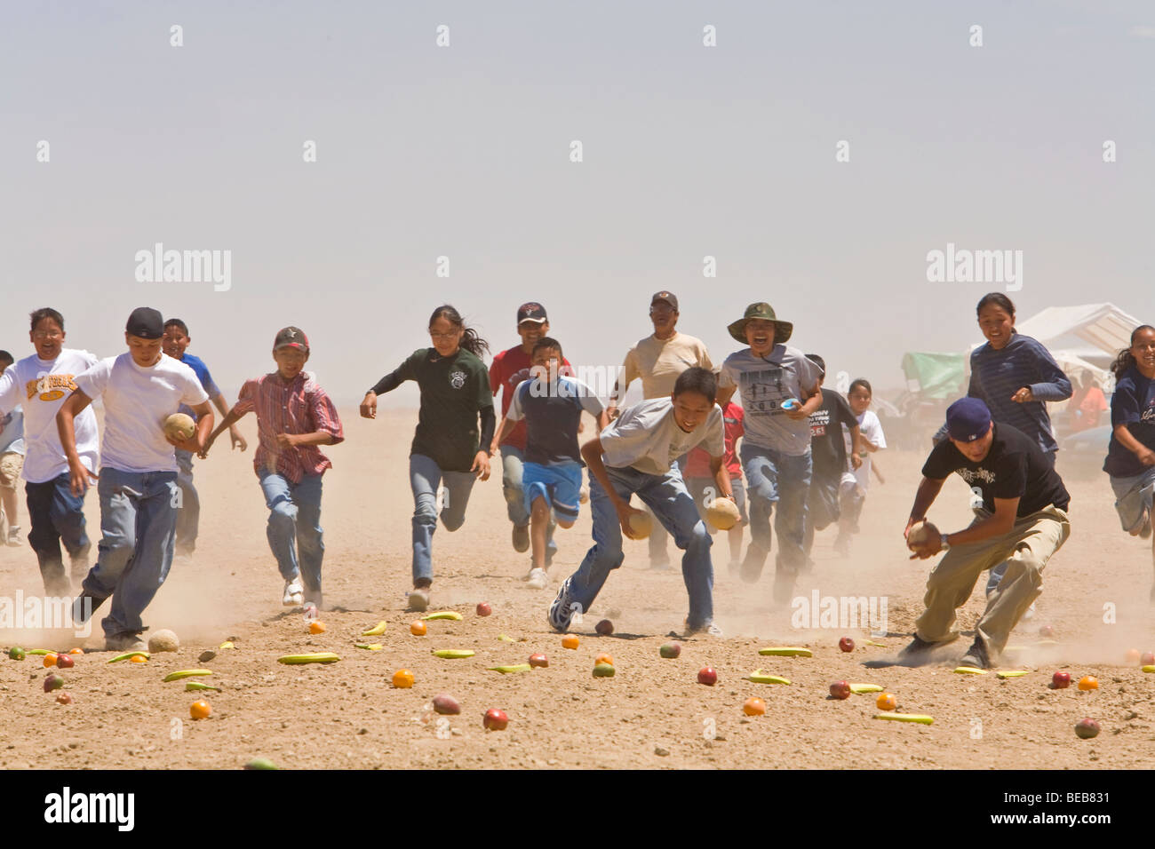 Fruit Scramble event for youth at the Annual Natoni Horse Race at Rocky Ridge on the Navajo Nation, Arizona - Stock Image