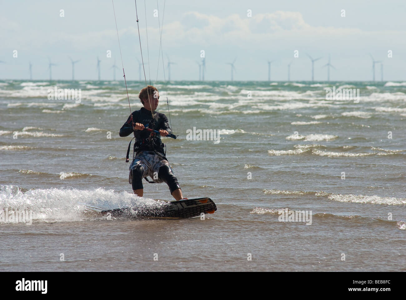 Youth kite surfing - Stock Image