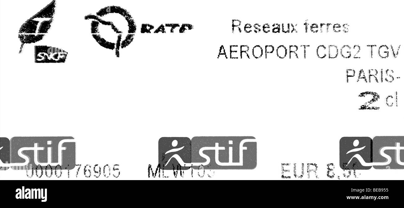 France, Paris, Metro Ticket. Stock Photo