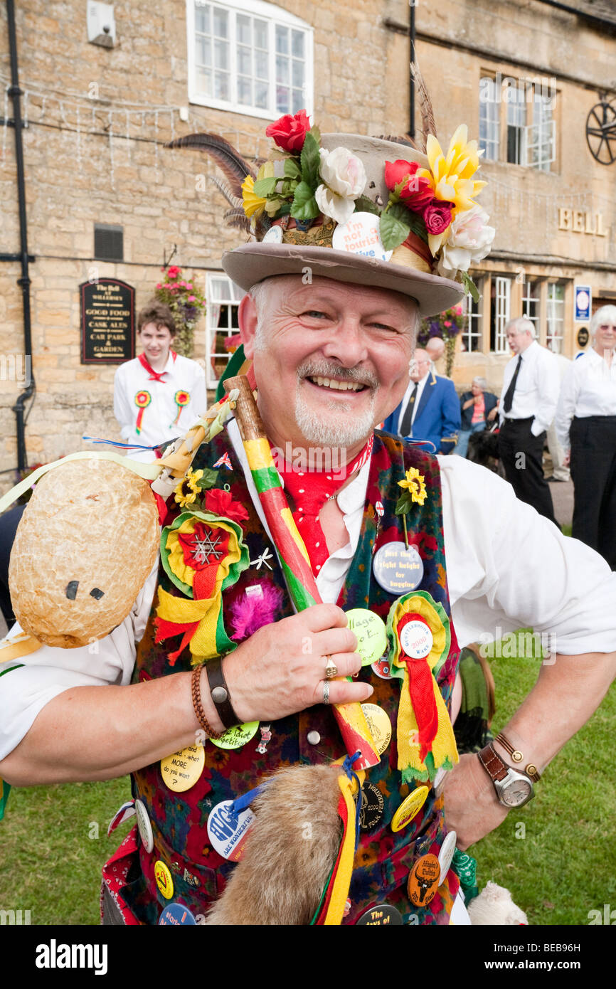 Tim Sexton, the Chipping Campden Morris Men's fool, in the Cotswold village of Willersey, Gloucestershire - Stock Image