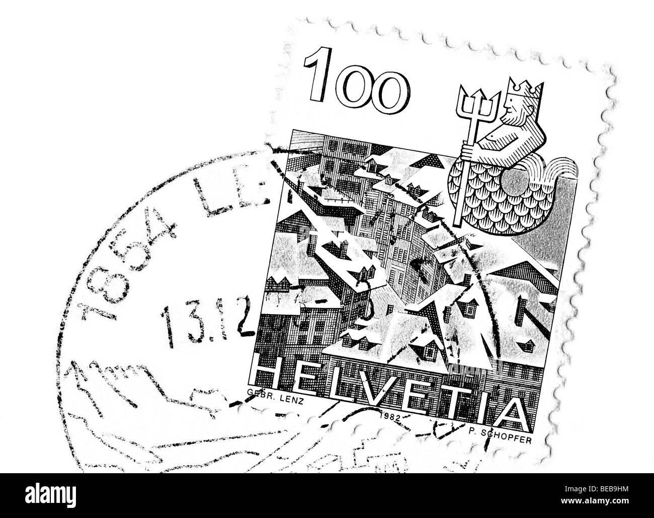 Switzerland, postcard, canceled stamp. - Stock Image