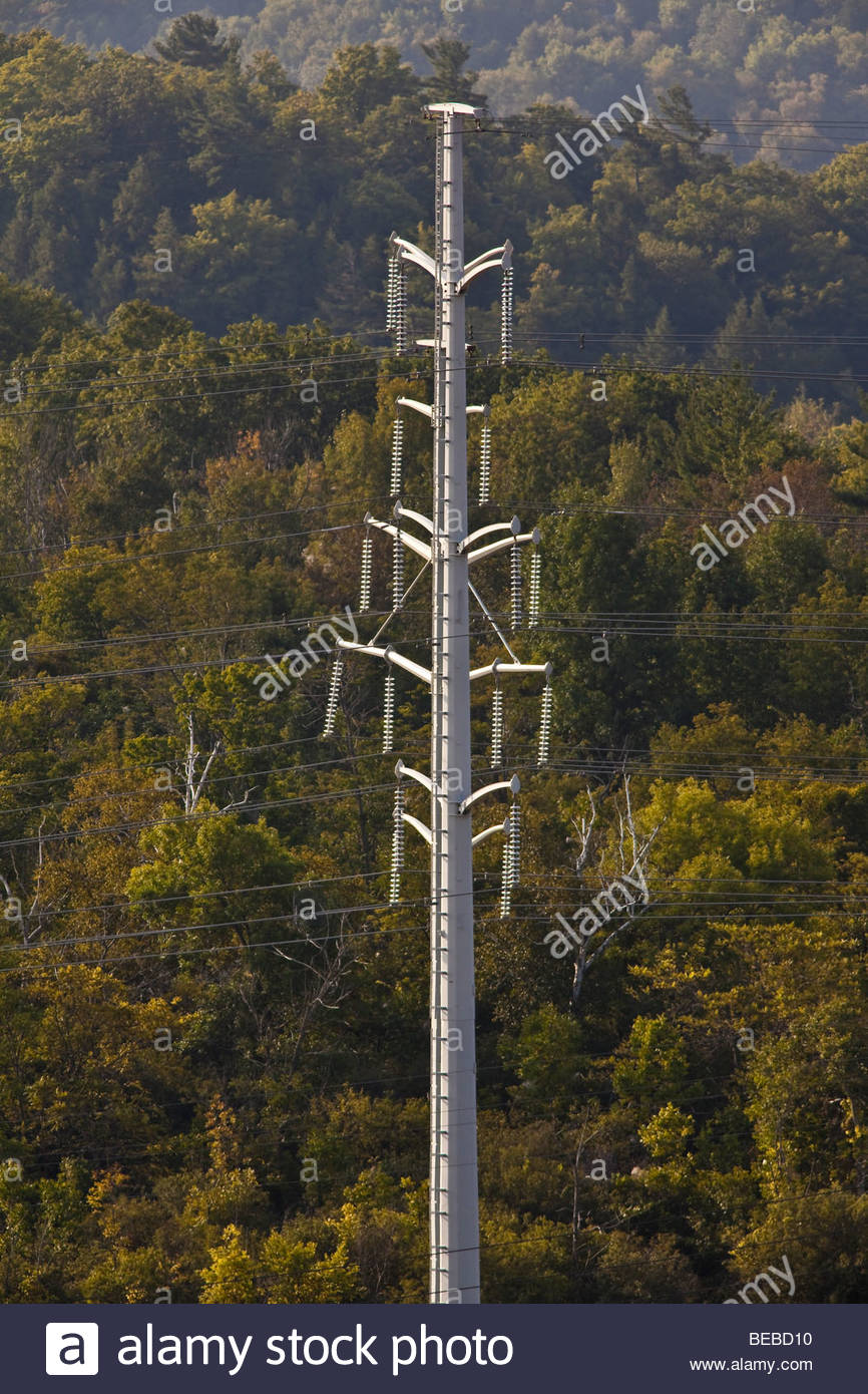 Electric transmission towers at Pickering Ontario Canada - Stock Image
