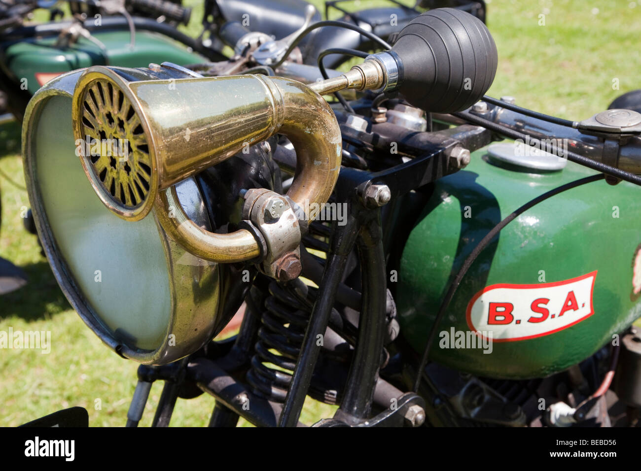 Horn on BSA motorcycle at Abergavenny steam fair Wales UK - Stock Image