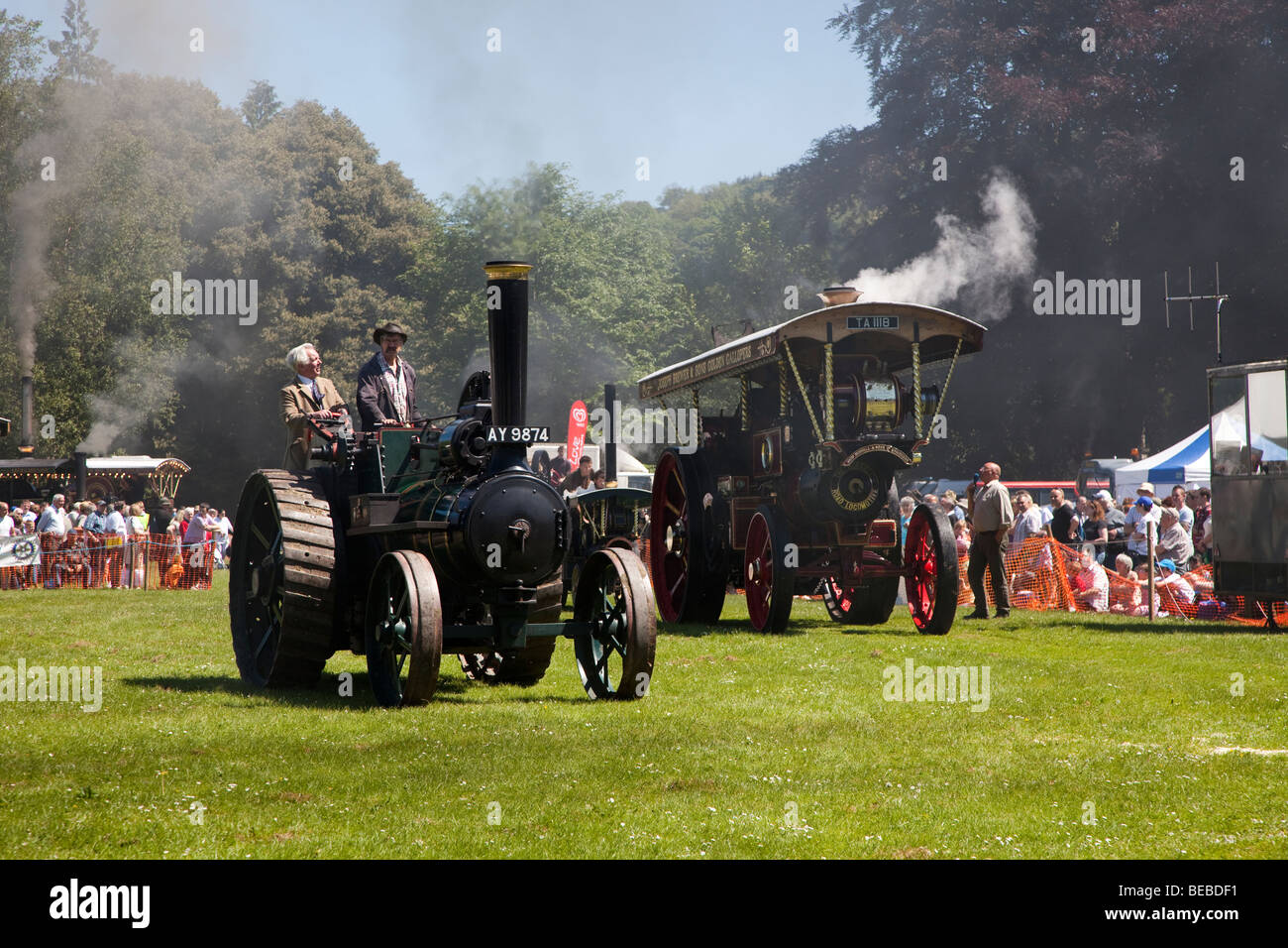 Steam engines at Abergavenny steam fair Wales UK - Stock Image