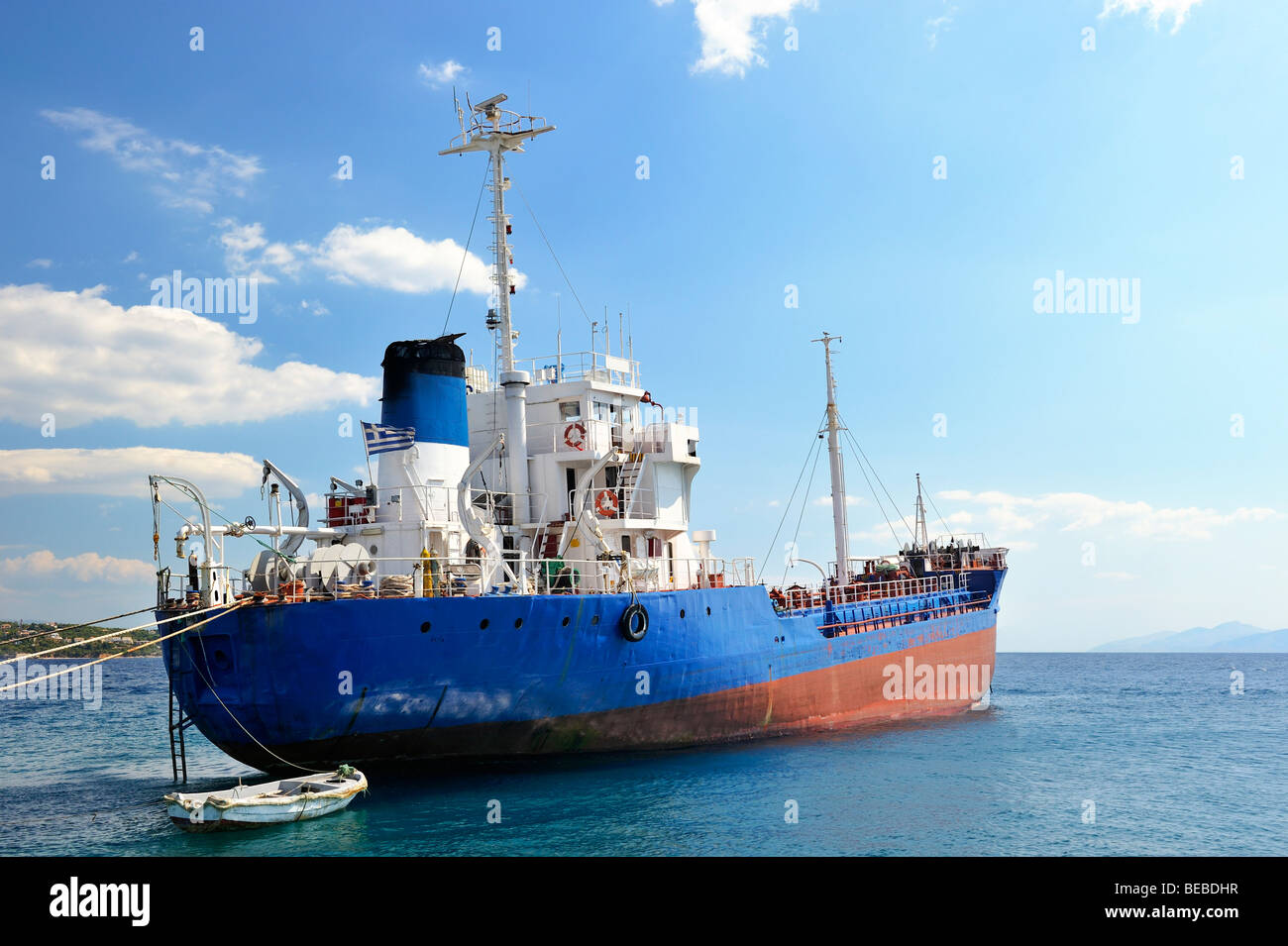 Moored cargo ship - Stock Image