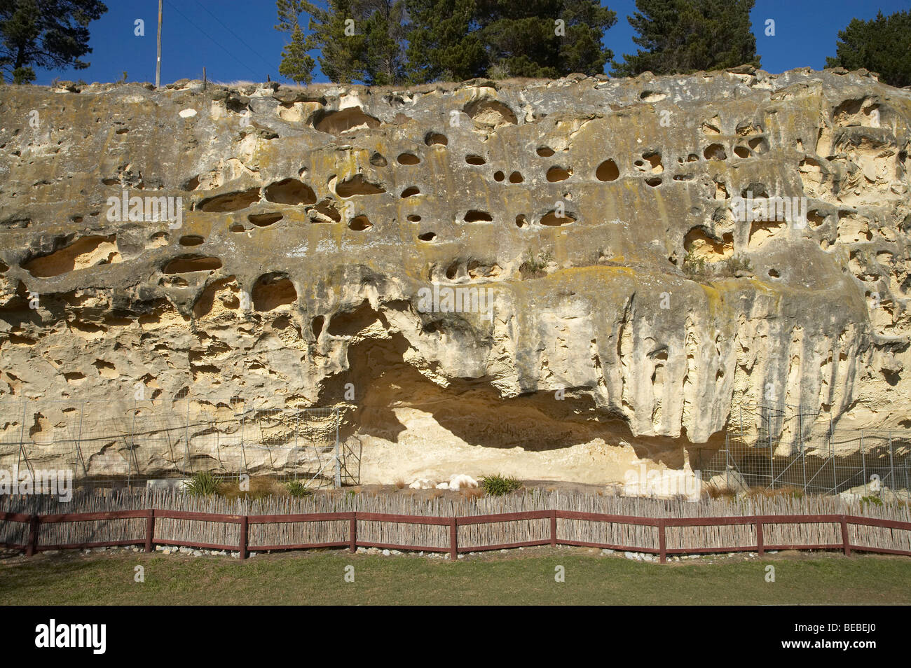 Takiroa Rock Art Site, by State Highway 83 near Duntroon, Waitaki Valley, North Otago, South Island, New Zealand - Stock Image