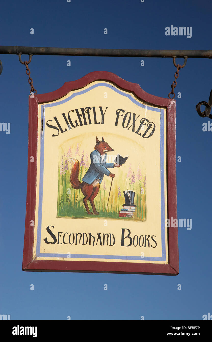 Slightly Foxed Secondhand Books Sign, Historic Precinct, Oamaru, North Otago, South Island, New Zealand - Stock Image