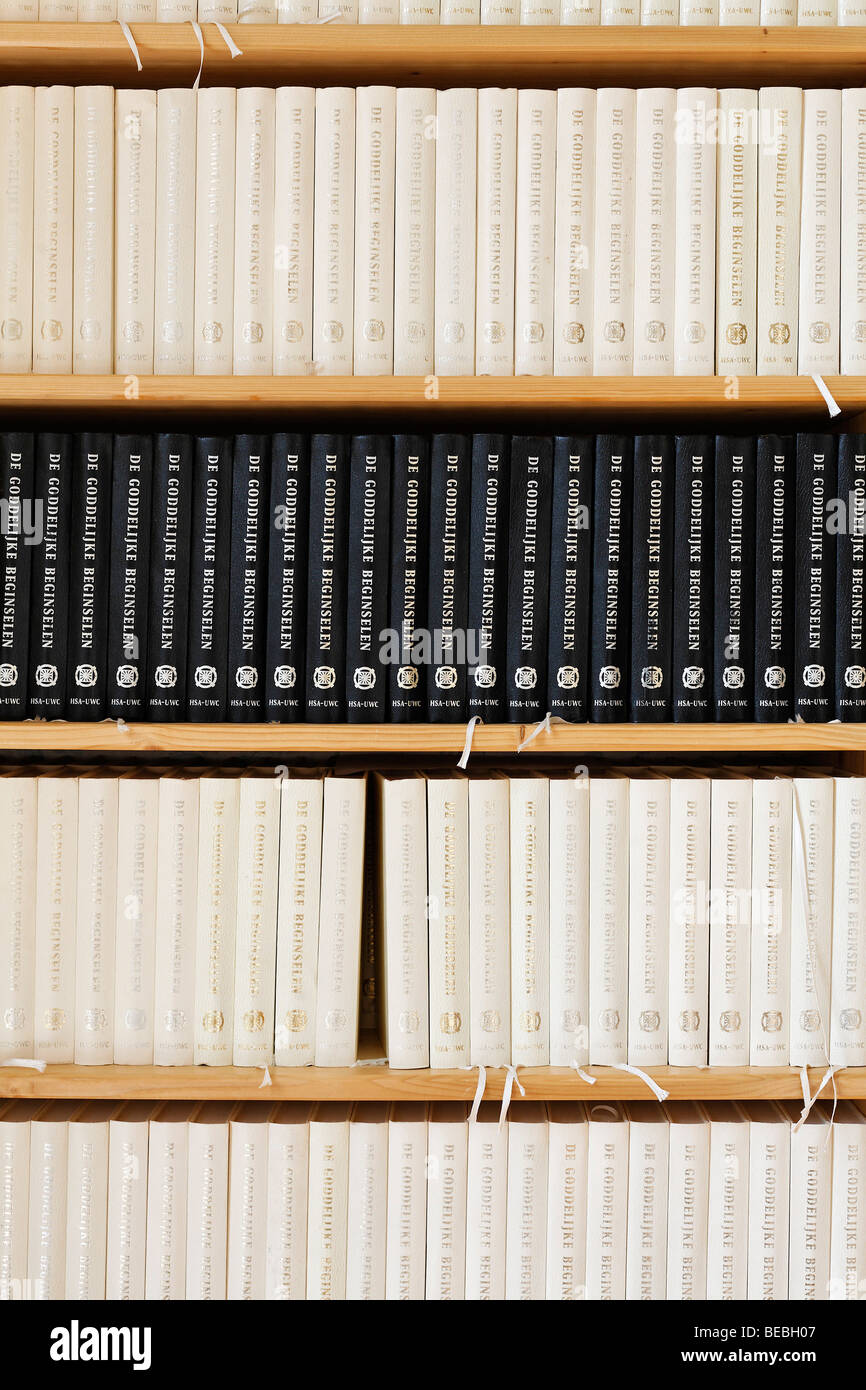 Book shelf with many copies of the same book, De Goddelijke Beginselen, The Divine Principles, Holland, Netherlands, - Stock Image