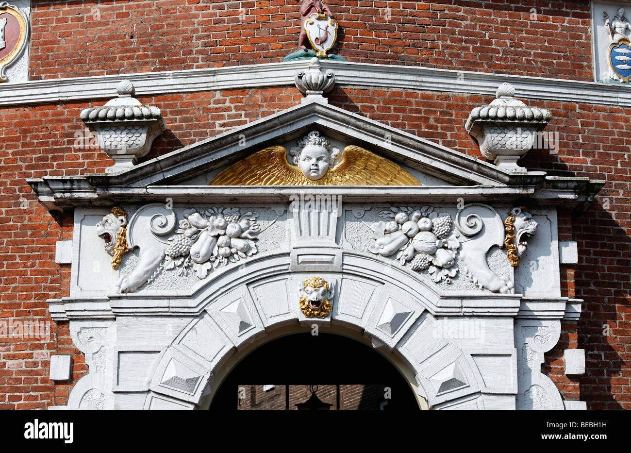 Opulently decorated portal in Renaissance style, city palace from the 17th century, Hoorn, Province of North Holland, - Stock Image