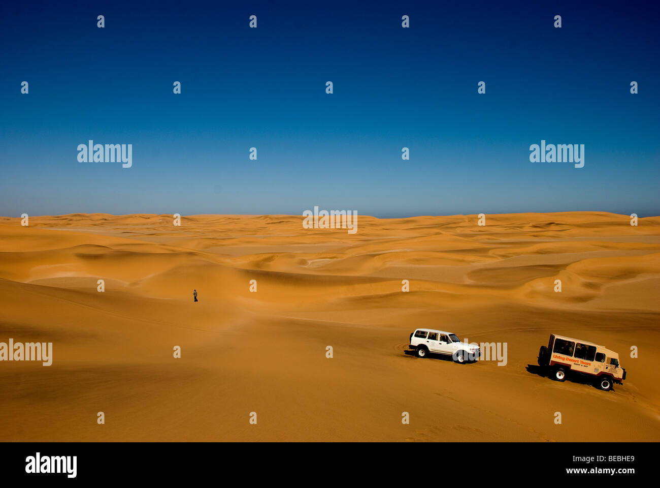 The 4X4 tour in the desert dunes near Swakopmund , Namibia Coast - Stock Image