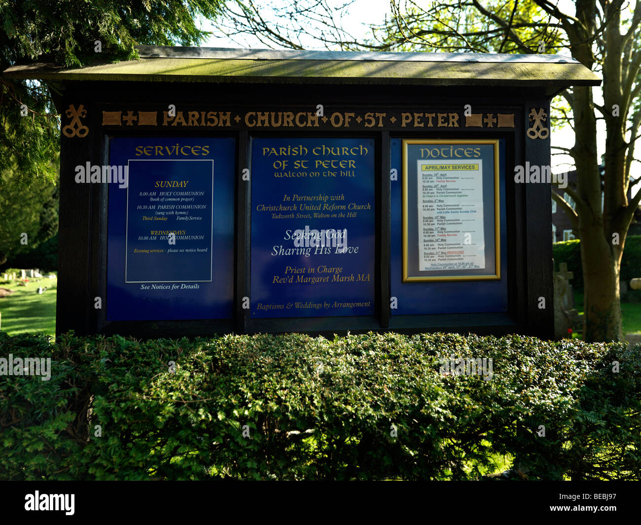 Noticeboard at the Church of St Peter Walton on the Hill Surrey England - Stock Image