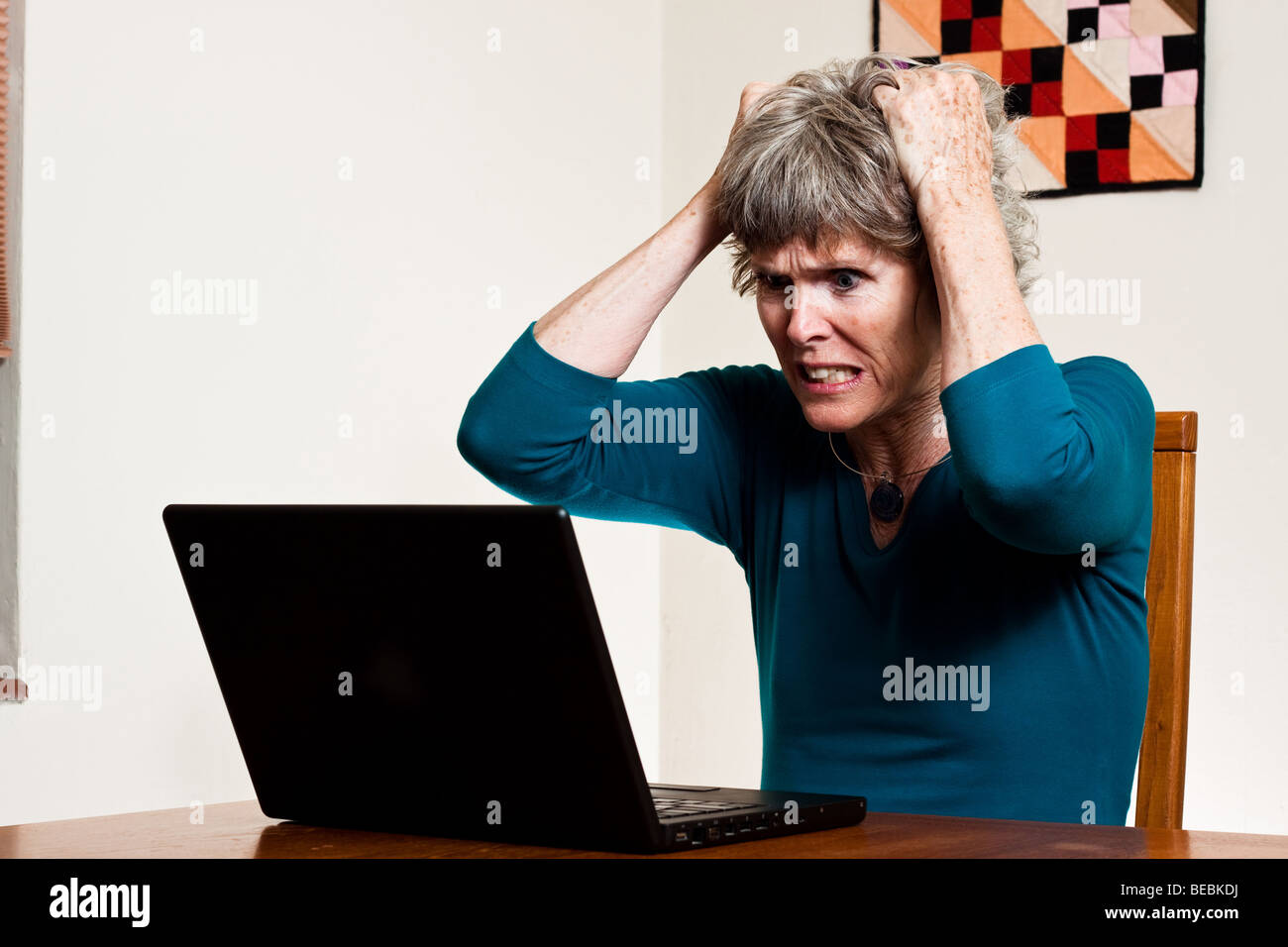 Data loss - pulling your hair out - Stock Image