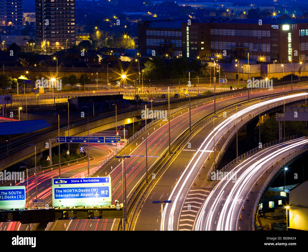 Belfast Motorway at Dusk - Stock Image