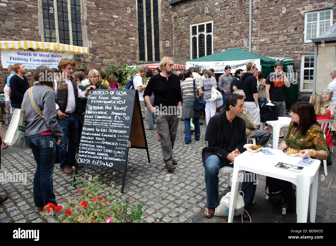People attending the 2009 Abergavenny food festival, Monmouthshire south wales UK - Stock Image