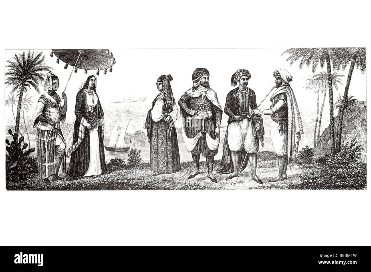 moorish noble and merchant arabian chief in algiers jewess of algiers slave lady of cairo - Stock Image