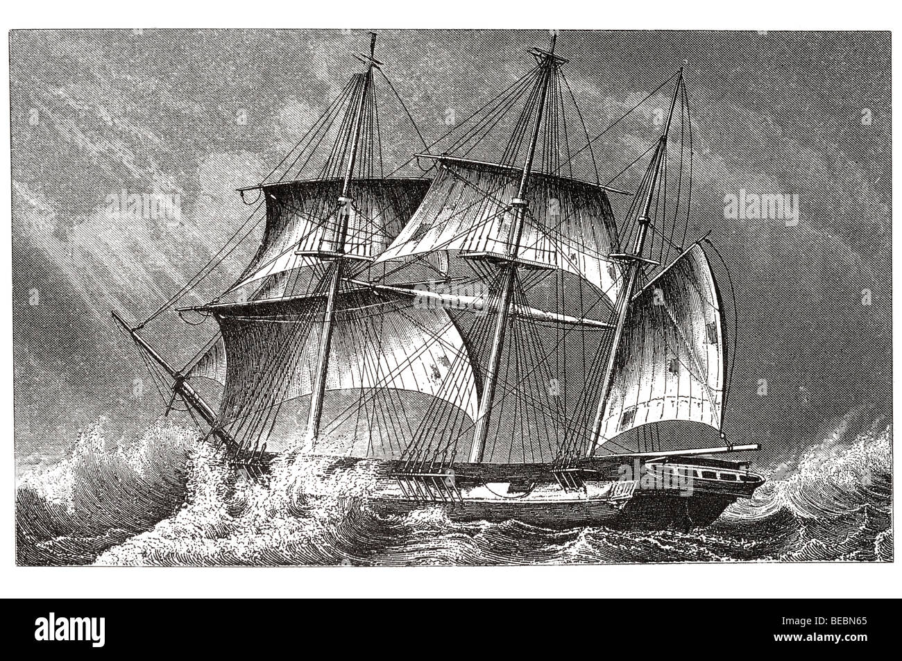 barque under close reefed topsails - Stock Image