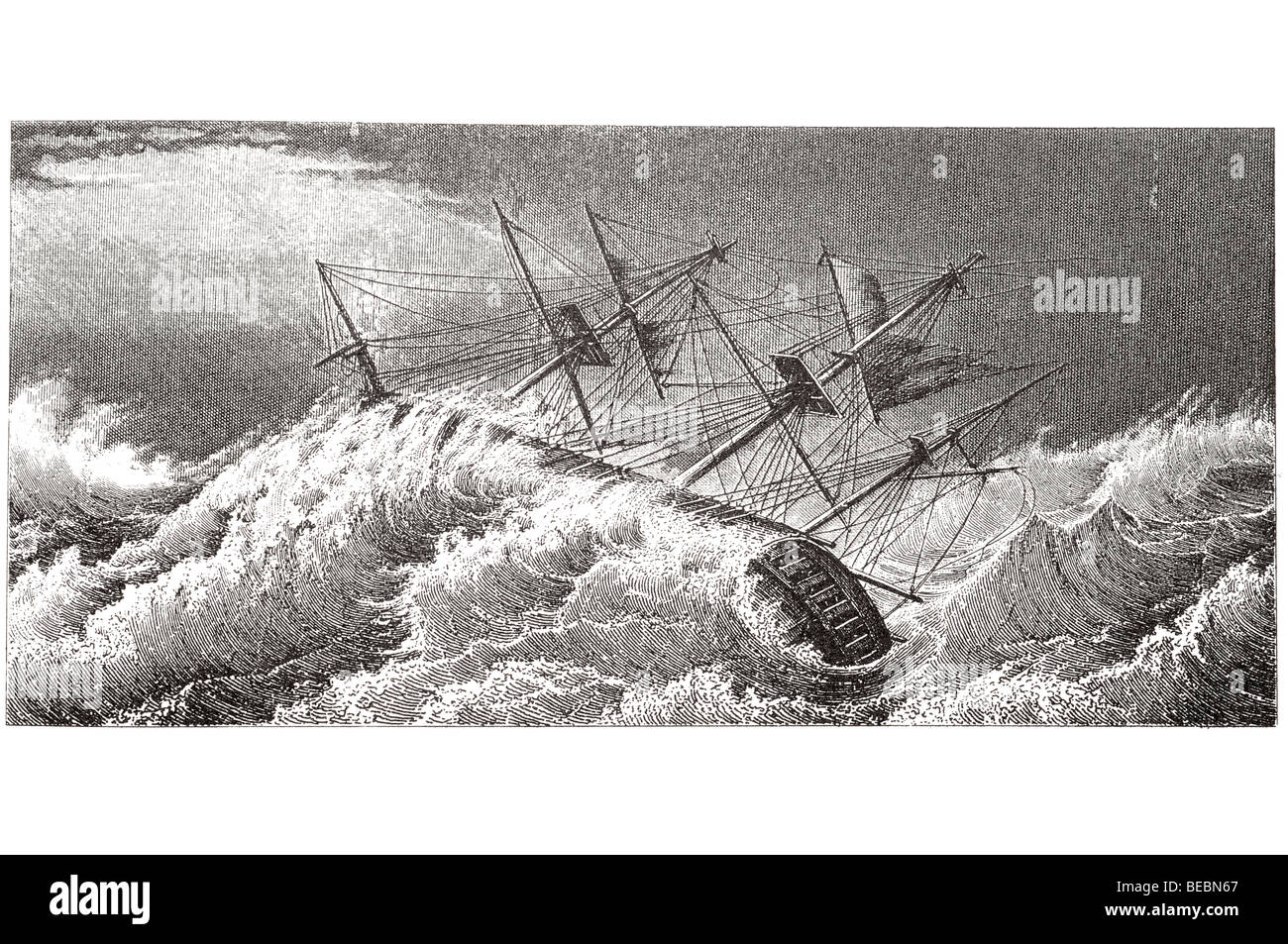 barque thrown on one side - Stock Image
