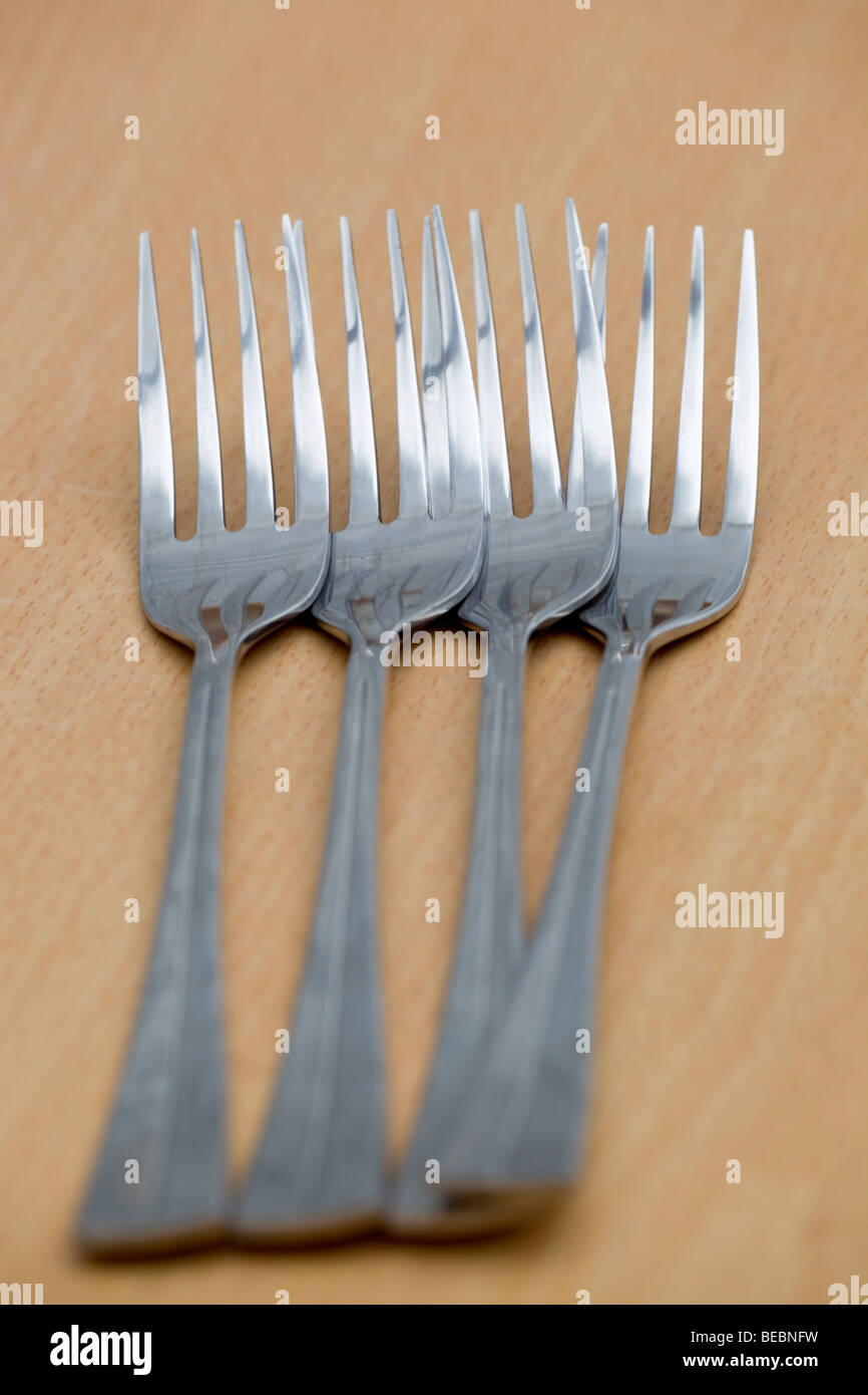 forks on a table - Stock Image