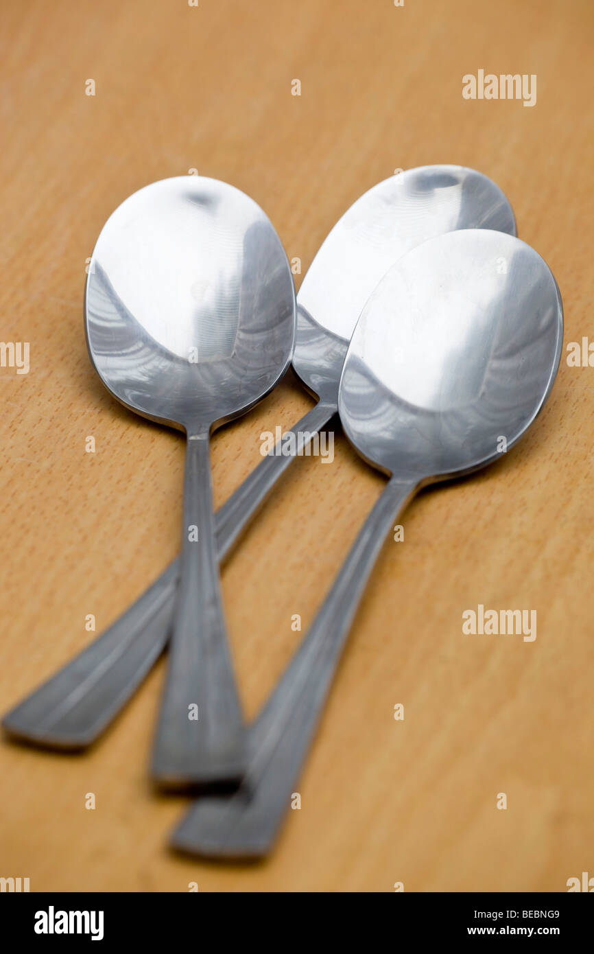 spoons; cutlery; table - Stock Image