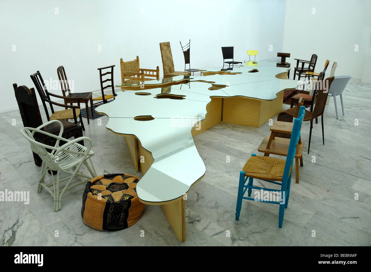 Superb Display Of Tables Chairs Installation Art At The Modern Spiritservingveterans Wood Chair Design Ideas Spiritservingveteransorg