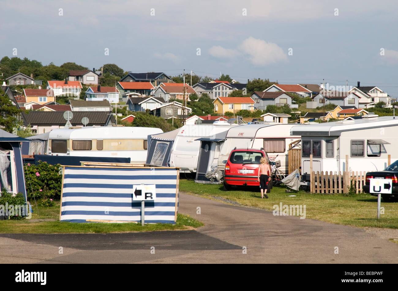 caravan caravans site camping holiday vacation holidays vacations sweden swedish campsite campsites holidaymakers - Stock Image