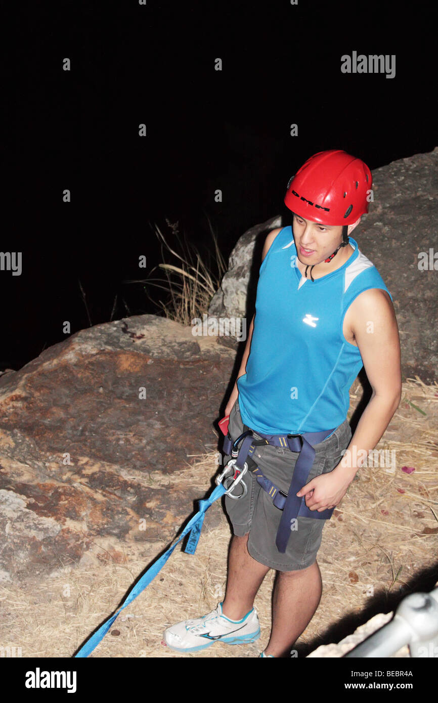Male Cliff Climber Stock Photo