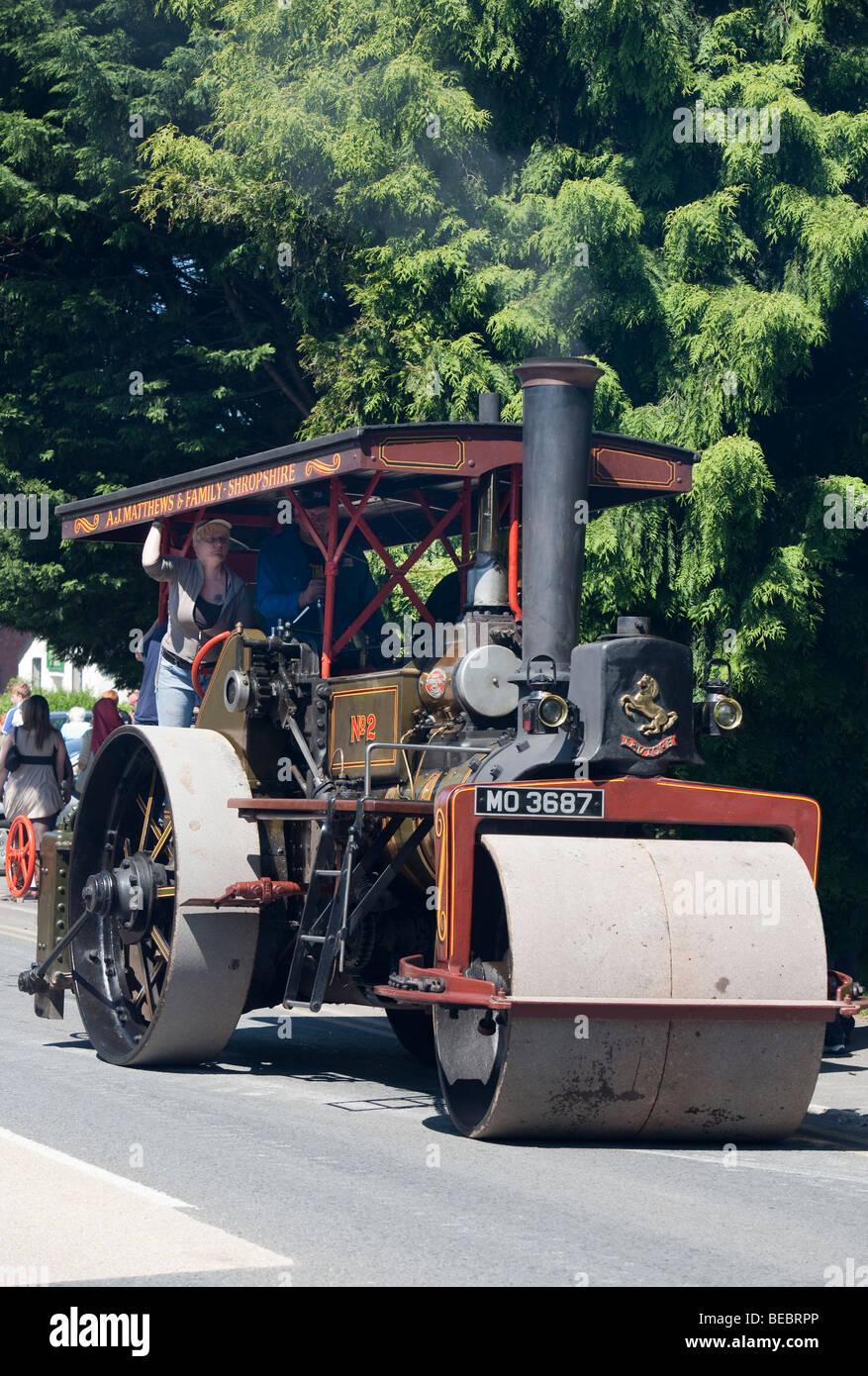 Steam engine road roller Abergavenny steam fair Wales UK - Stock Image