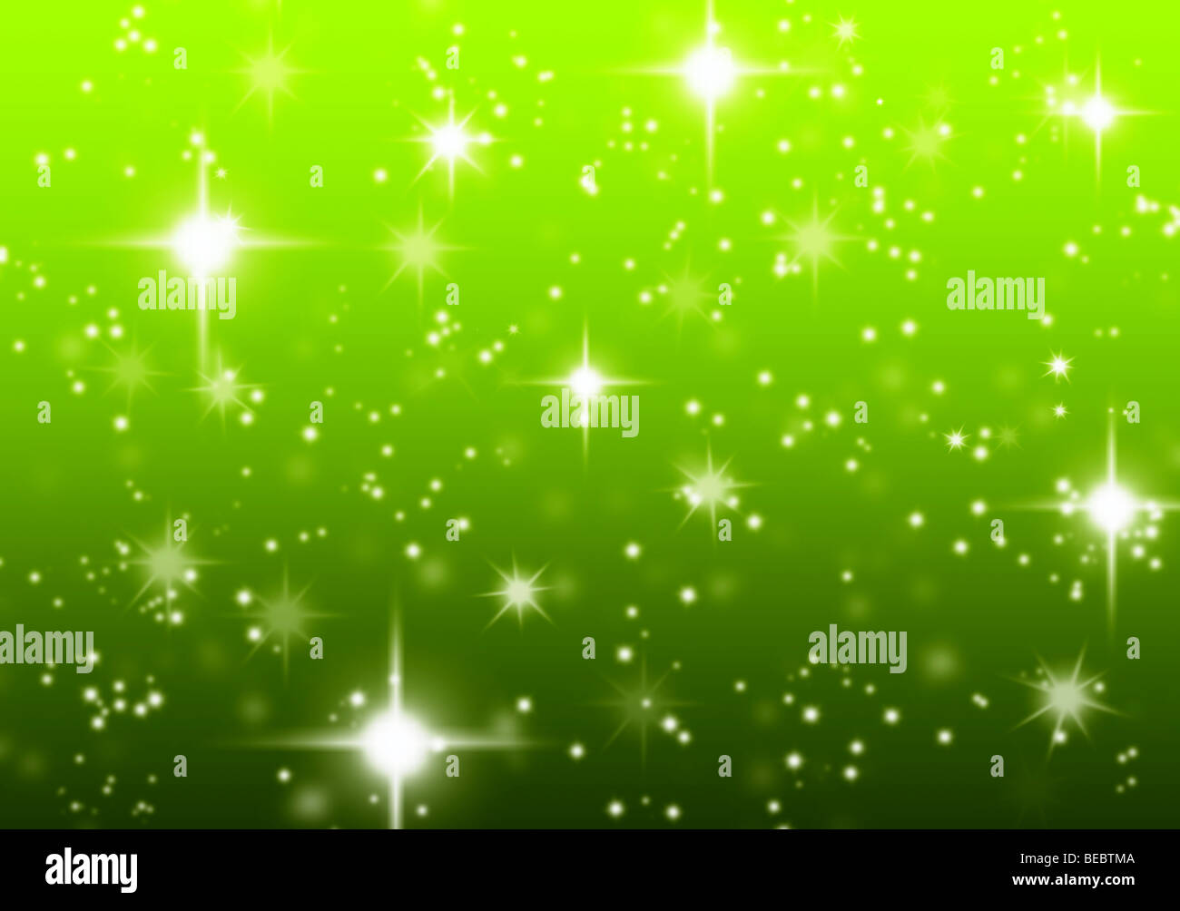 Green starry Christmas holiday abstract background created