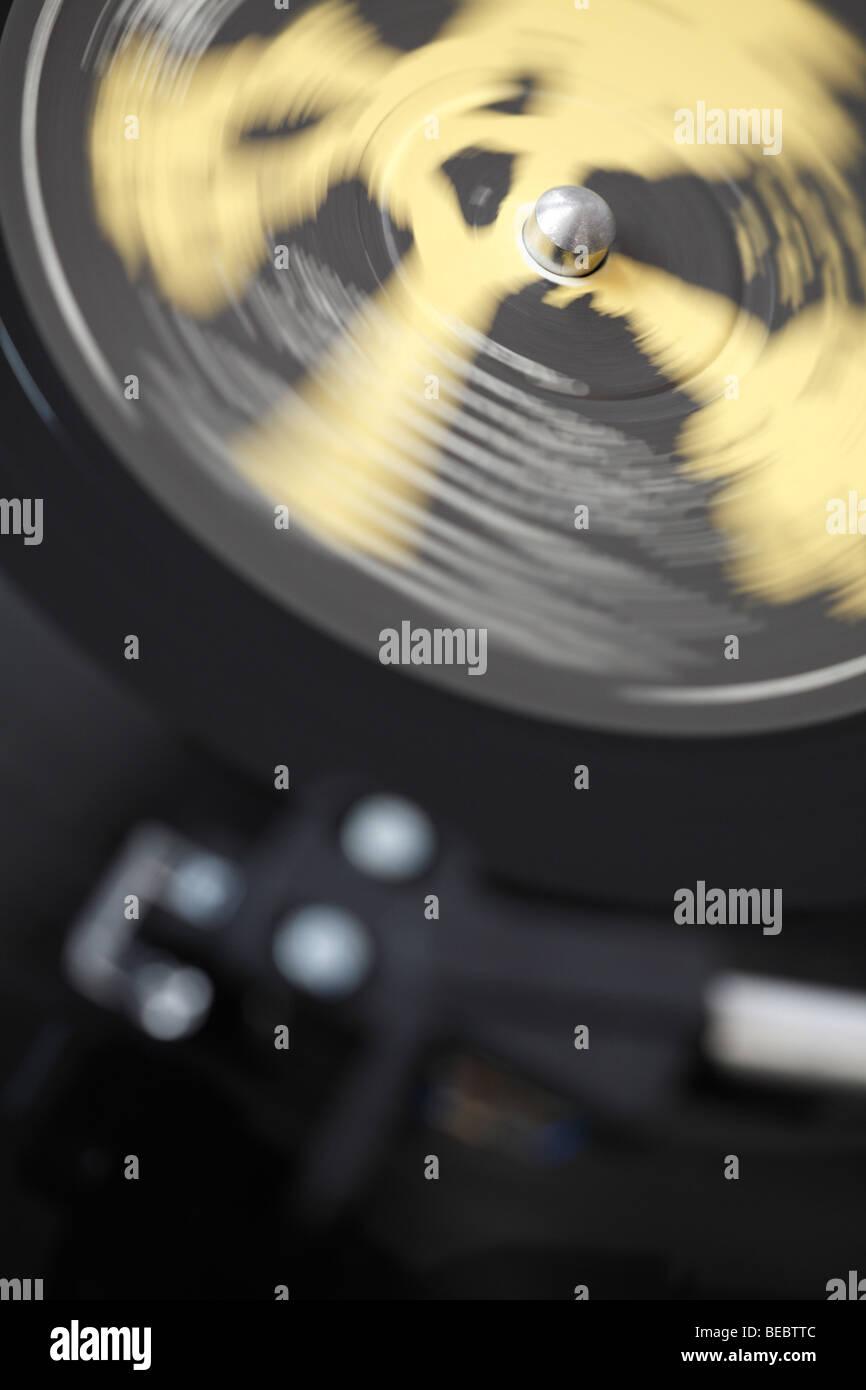 spinning vinyl record - Stock Image