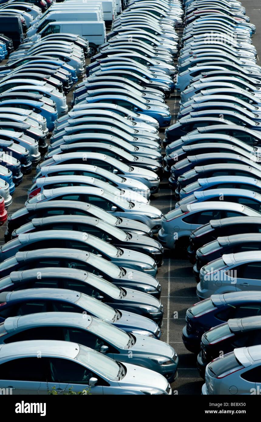 Europe, UK, England, Hampshire, Southampton cars in docks Stock Photo