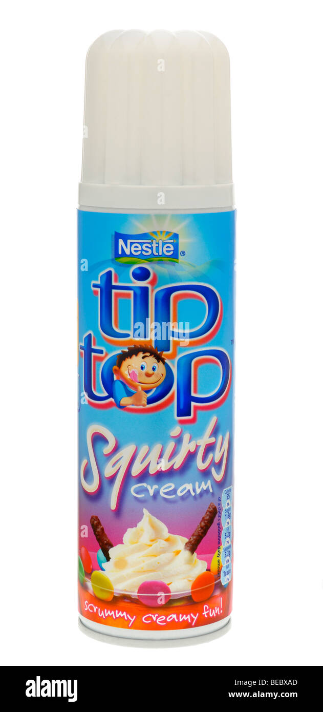 Can of Nestle Tip Top Squirty Cream - Aug 2009 - Stock Image